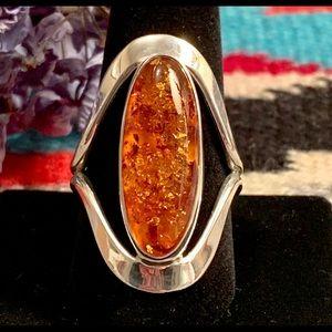 Sterling & Amber Modernist Ring